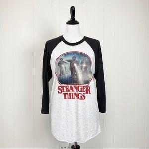 Stranger Things Gray & Black Raglan Sleeve Tee M